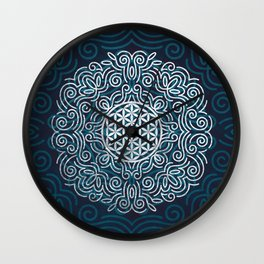 Flower Of Life (Silver Lining) Wall Clock