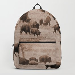 Buffalo Herd in Sepia Backpack