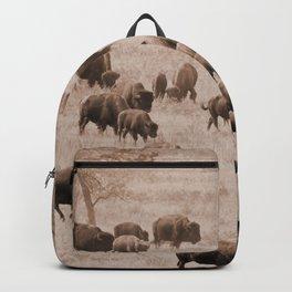Buffalo Herd in Sepia Backpack