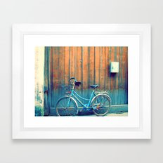 A Polka Dotted Bike Framed Art Print