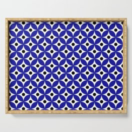 Blue, black and white elegant tile ornament pattern Serving Tray
