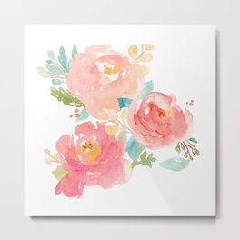 Watercolor Peonies Summer Bouquet Metal Print