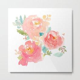 Watercolor Peonies Summer Bouquet Metal Print