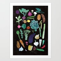 vegetables Art Prints featuring Vegetables by The Printed Peanut