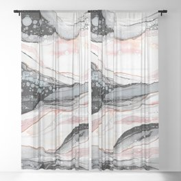 Pink Waves Sheer Curtain