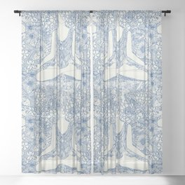 lotus garden vintage blue Sheer Curtain