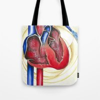 anatomical heart Tote Bags featuring Anatomical Heart, Abstract blood by Adam Murray