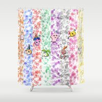 digimon Shower Curtains featuring Digimon 15th Anniversary by AbigailC