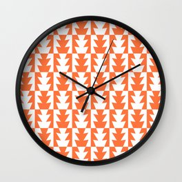 Art Deco Jagged Edge Pattern Orange Wall Clock