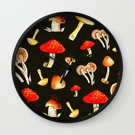 Brigt Mushrooms Wall Clock