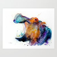 hippo Art Prints featuring Hippo  by Slaveika Aladjova