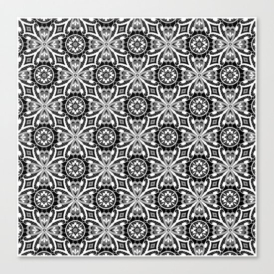 Retro . Lace black and white pattern . White lace on a black background . Canvas Print