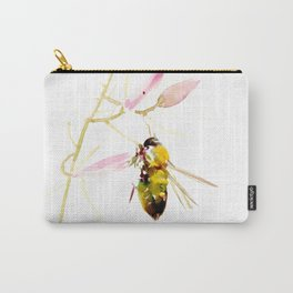 Bee and Pink Flowers Carry-All Pouch