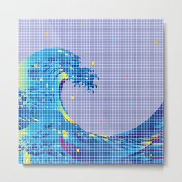 Great Wave in checked pattern_E Metal Print