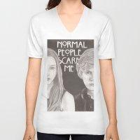 kris tate V-neck T-shirts featuring Violet & Tate by JadeJonesArt