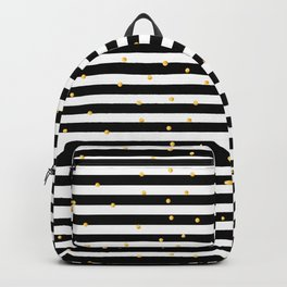 Modern black white gold polka dots striped pattern Backpack