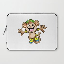 Monkey as Inline Skater with Inline Skates and Helmet Laptop Sleeve