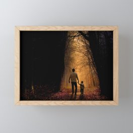 Father and Son in the Woods Framed Mini Art Print
