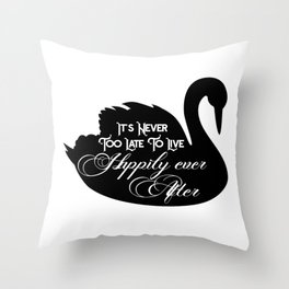 Happily Ever After Black Swan A368 Throw Pillow