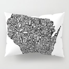 Typographic Wisconsin Pillow Sham