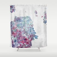 san francisco map Shower Curtains featuring San Francisco map by MapMapMaps.Watercolors