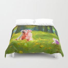 Two dogs in a wood Duvet Cover