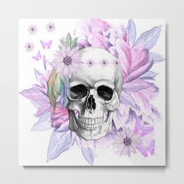Purple Floral Boho Hippie Skull Metal Print