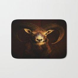 Beautiful Mouflon on Dark Background #decor #society6 #buyart Bath Mat