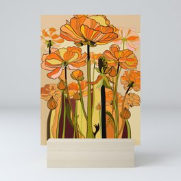 Orange California poppies, mid century, 70s retro, flowers Mini Art Print