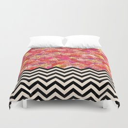 Chevron Flora Duvet Cover