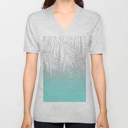Modern tropical white palm tree silver glitter ombre on robbin egg blue turquoise Unisex V-Neck