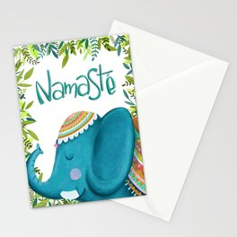 Namastey - Cute Elephant Illustration Stationery Cards