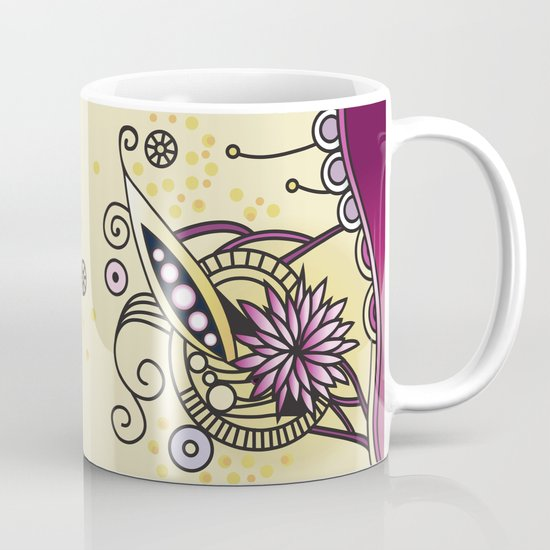 Ornate square zentangle, Naples Yellow Hue Mug