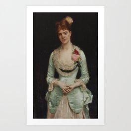 Alexandre Cabanel 1823 - 1889 PORTRAIT OF MISSMATTHEWS, IN GREEN SILK SATIN AND LACE GOWN Art Print