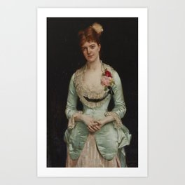 Alexandre Cabanel 1823 - 1889 PORTRAIT OF MISSMATTHEWS, IN GREEN SILK SATIN AND LACE GOWN Art Print