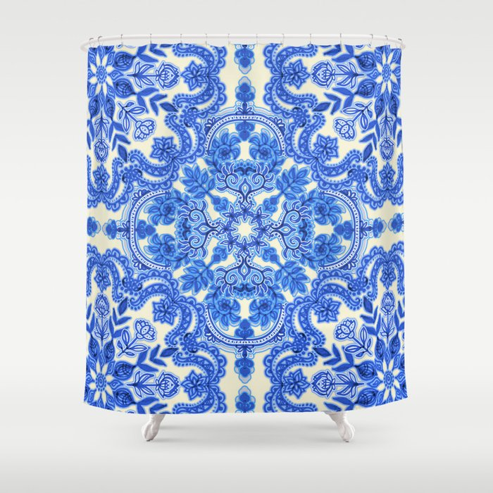 Cobalt Blue China White Folk Art Pattern Shower Curtain