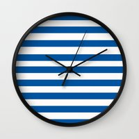 preppy Wall Clocks featuring Preppy Navy & White Stripe by Sweet Karalina