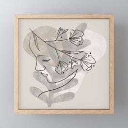 Female face minimal line drawing  Framed Mini Art Print