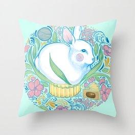 Mid-Autumn Bunny Throw Pillow