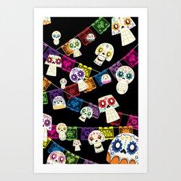 Skulls y Papel Picado Art Print