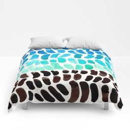 Pastel Teal blue Aquamarine Watercolor Minimalist Pattern Natural Shapes Mid Century Modern Colorful Comforters
