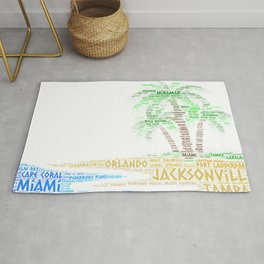 Tropical Island with Palm Trees illustrated with cities of Florida State Rug