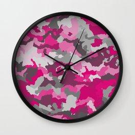 Pink and Gray camo 2 Wall Clock