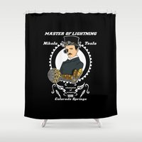 tesla Shower Curtains featuring Nikola Tesla steampunk by Buby87