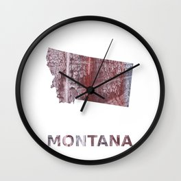 Montana map outline Gray red clouded aquarelle illustration Wall Clock