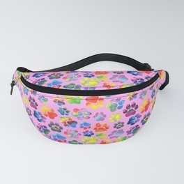 Pink and Rainbow Pawprint Pattern Fanny Pack