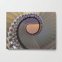 white geometry - spiral stairs Metal Print