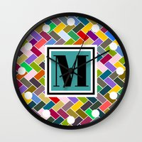 monogram Wall Clocks featuring M Monogram by mailboxdisco