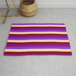 Purple, Tan, Maroon, and Dark Magenta Colored Stripes/Lines Pattern Rug