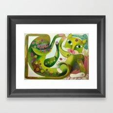Crazy Sea Cat Framed Art Print